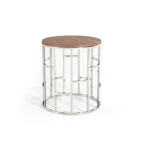 VIG Furniture - Modrest Silvia Modern Walnut & Stainless Steel End Table