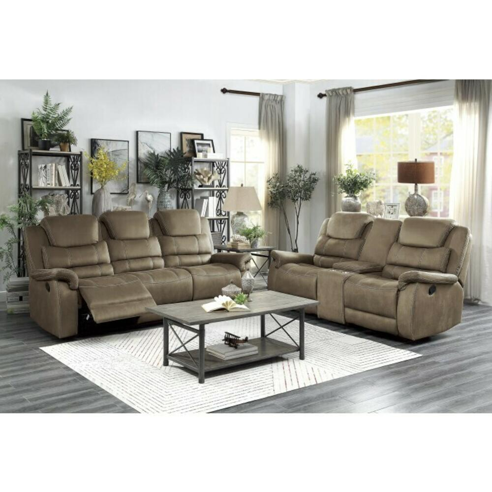 Double Reclining Sofa with Drop-Down Cup Holders and Receptacles