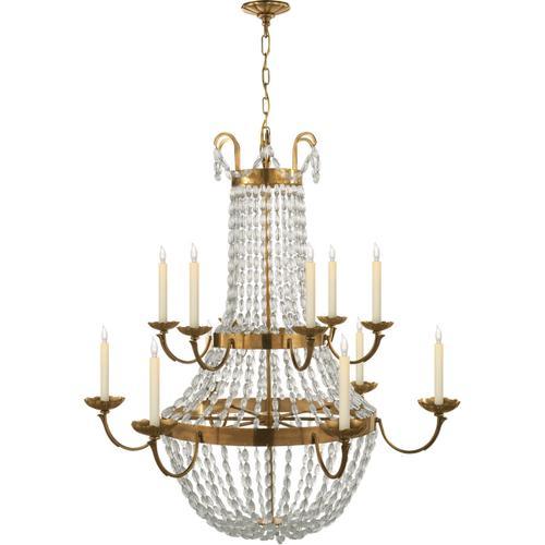 Visual Comfort - E F Chapman Paris Flea Market 12 Light 40 inch Antique-Burnished Brass Chandelier Ceiling Light