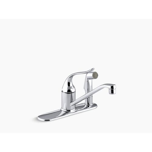"""Polished Chrome Three-hole Kitchen Sink Faucet With 8-1/2"""" Spout, Matching Finish Sidespray Through Escutcheon and Lever Handle"""