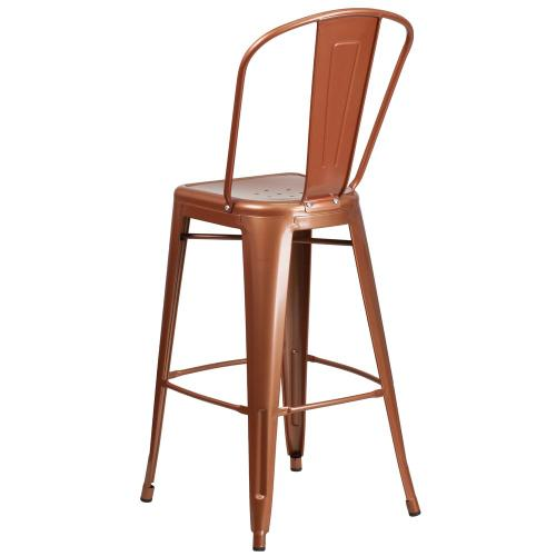 Alamont Furniture - 30'' High Copper Metal Indoor-Outdoor Barstool with Back