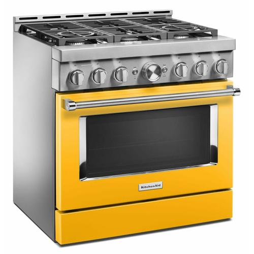 KitchenAid - KitchenAid® 36'' Smart Commercial-Style Gas Range with 6 Burners - Yellow Pepper