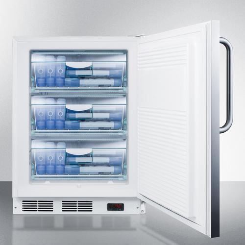 ADA Compliant Freestanding Medical All-freezer Capable of -25 C Operation, With Stainless Steel Door and Towel Bar Handle