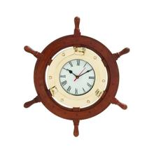 "WD BRASS SHIP WHEEL CLOCK 18""D"