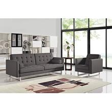 See Details - Divani Casa Bauxite Modern Grey Fabric Sofa Bed