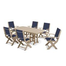 Sand & Navy Blue Coastal 7-Piece Dining Set