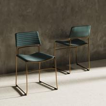 View Product - Modrest Swain Modern Green Fabric & Gold Dining Chair (Set of 2)