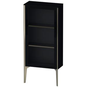 Duravit - Semi-tall Cabinet With Mirror Door Floorstanding, Black High Gloss (lacquer)