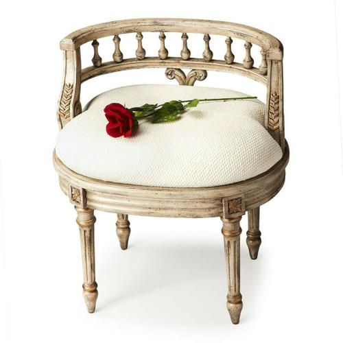 Butler Specialty Company - This elegant hand painted vanity seat adds formal elegance to any powder or dressing room. Hand crafted from poplar hardwood solids and wood products, it features a carved solid wood back and legs. The generously-sized, upholstered seat cushion is covered in an ivory cotton hobnail fabric.
