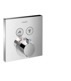 Chrome Thermostatic Trim for 2 Functions, Square Product Image