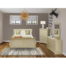 West Furniture Louis Philippe 4 Piece Queen Size Bedroom Set in Metallic Gold Finish with Queen Bed, ,Dresser, Mirror,Chest