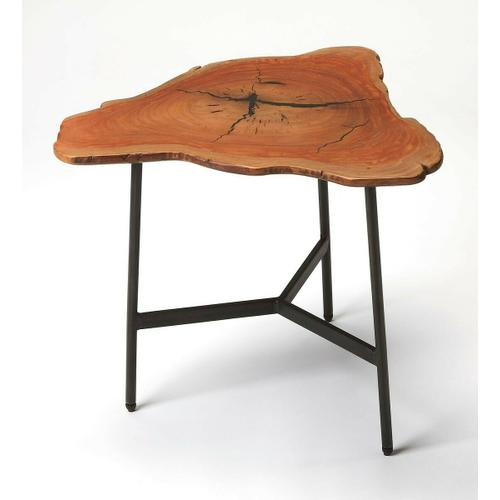 Butler Specialty Company - This live edge end table imparts a rustic sensibility to any space. Featuring a free form solid acacia wood top supported by a three-legged iron base joined by a Y-shaped stretcher, it is a great addition in the living room, bedroom or office.