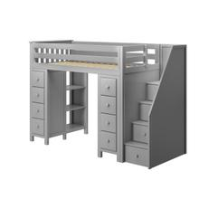 See Details - All in One Staircase Loft Bed Storage + Storage Grey