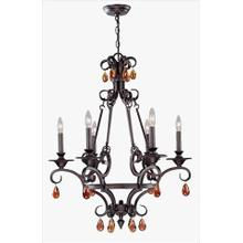 See Details - 6 Lites Chandelier - Ant. Bronze Wrought Iron, E12 B 60wx6