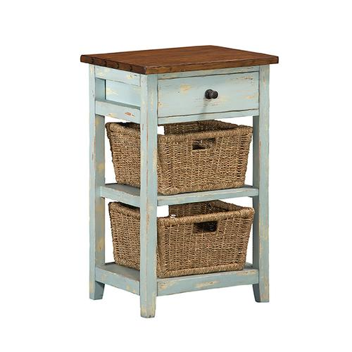 Gallery - Tuscan Retreat® 2 Basket 1 Drawer Open Side Stand - Sea Blue With Antique Pine Top