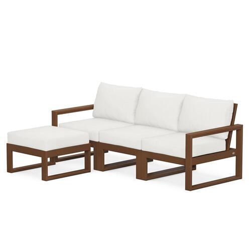 Polywood Furnishings - EDGE 4-Piece Modular Deep Seating Set with Ottoman in Teak / Natural Linen