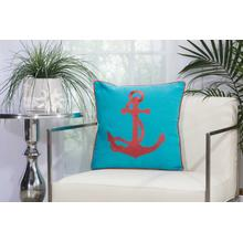 """Outdoor Pillows L0391 Turquoise/coral 18"""" X 18"""" Throw Pillow"""