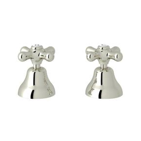 Verona Deck Mount Set of Hot and Cold 1/2 Inch Sidevalves - Polished Nickel with Cross Handle