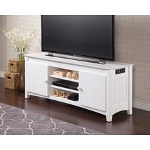 See Details - Nantucket 60 inch Entertainment Console with Adjustable Shelves and Charging Station in White