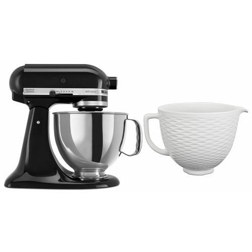 KitchenAid - Exclusive Artisan® Series Stand Mixer & Ceramic Bowl Set - Onyx Black