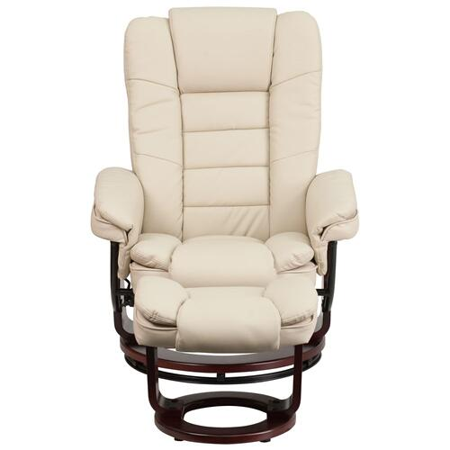 Alamont Furniture - Contemporary Beige Leather Recliner and Ottoman with Swiveling Mahogany Wood Base