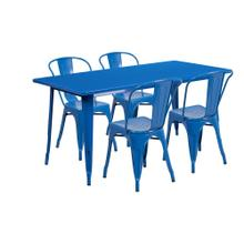 31.5'' x 63'' Rectangular Blue Metal Indoor-Outdoor Table Set with 4 Stack Chairs