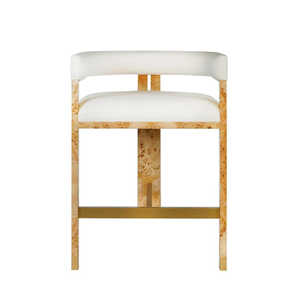 Perfectly Tailored In Crisp White Linen Upholstery, the Barrel Back Cruise Counter Stool Exudes Mid Century Mod Style and Attitude. Its Durable Tri-leg, Solid Oak Frame With Natural Burl Wood Finish Forms A Highly Sought-after Silhouette That's Perfect for All Occasions.