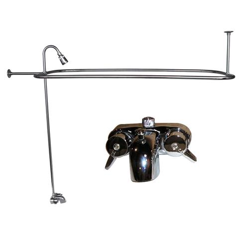 Anthea Acrylic Roll Top Tub Kit in Bisque - Polished Chrome Accessories