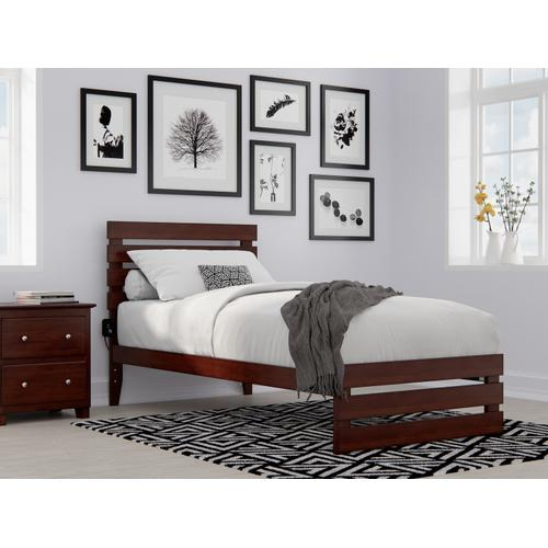 Atlantic Furniture - Oxford Twin Extra Long Bed with Footboard and USB Turbo Charger in Walnut