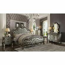 ACME Versailles II Eastern King Bed - 26837EK - Silver PU & Antique Platinum