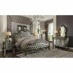 ACME Versailles II Eastern King Bed - 26837EK - Silver PU & Antique Platinum