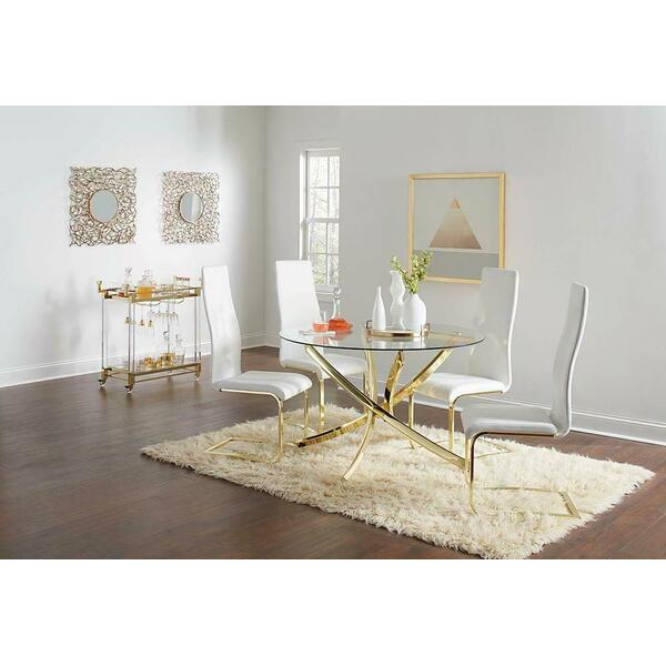 See Details - Chanel Modern White and Rustic Brass Side Chair
