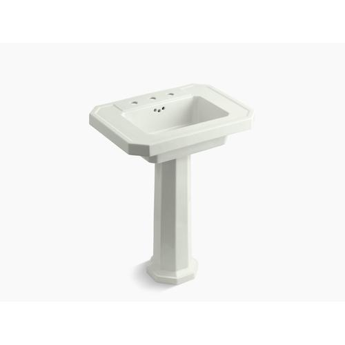 """Dune Pedestal Bathroom Sink With 8"""" Widespread Faucet Holes"""