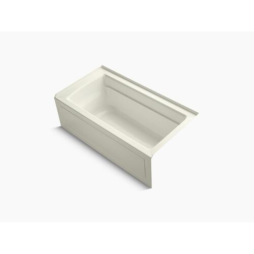 "Biscuit 60"" X 32"" Alcove Bath With Bask Heated Surface, Integral Apron, Integral Flange, and Right-hand Drain"