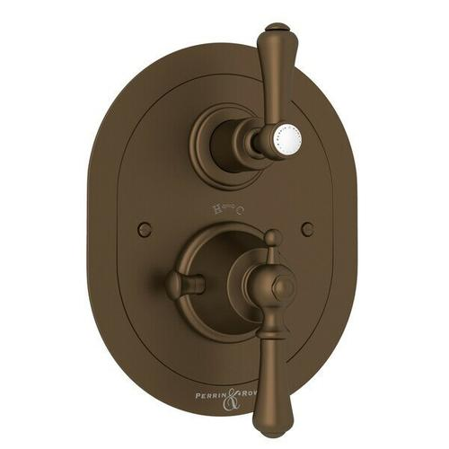 Georgian Era Oval Thermostatic Trim Plate with Volume Control - English Bronze with Metal Lever Handle