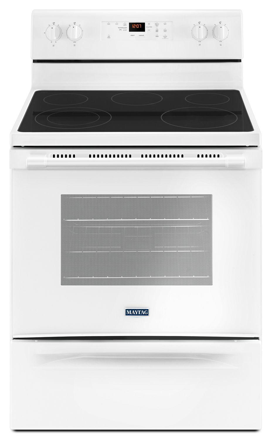 Maytag30-Inch Wide Electric Range With Shatter-Resistant Cooktop - 5.3 Cu. Ft. White