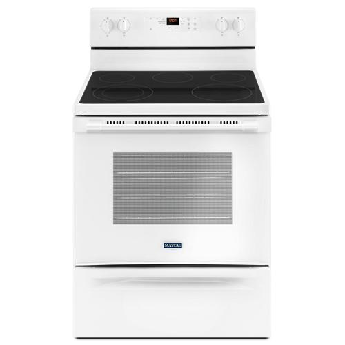 Product Image - 30-Inch Wide Electric Range With Shatter-Resistant Cooktop - 5.3 Cu. Ft. White