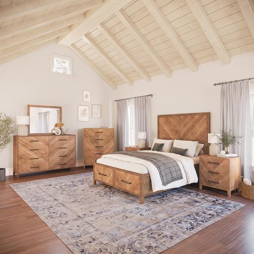 Jofran - Eloquence 5 Piece Queen Storage Bedroom Set: Bed, Dresser, Mirror, Chest, Nightstand