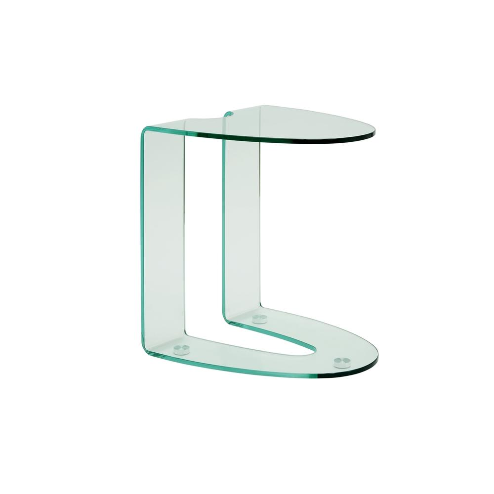 The Lido End Table In Clear Bent Glass