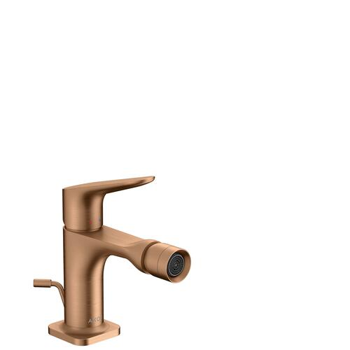 Brushed Bronze Single lever bidet mixer with pop-up waste set
