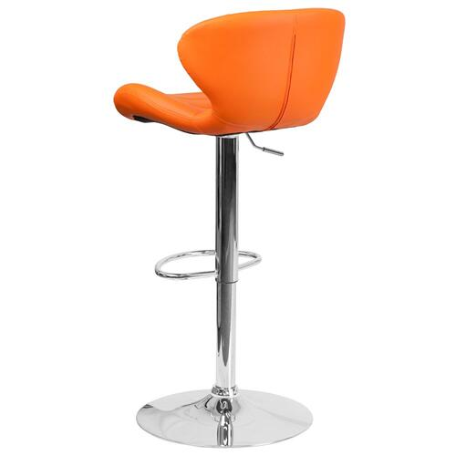 Contemporary Orange Vinyl Adjustable Height Barstool with Chrome Base