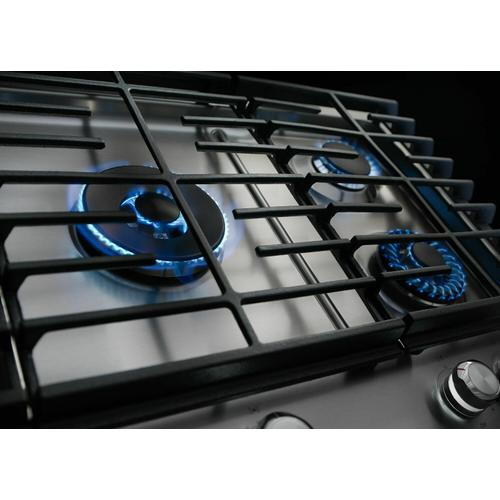 """KitchenAid - 30"""" 5-Burner Gas Cooktop with Griddle - Stainless Steel"""