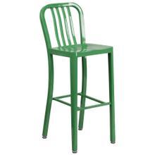 30'' High Green Metal Indoor-Outdoor Barstool with Vertical Slat Back