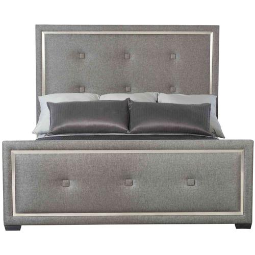 Queen-Sized Decorage Upholstered Panel Queen Bed in Cerused Mink (380)