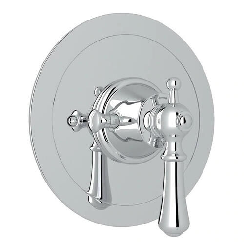Georgian Era Round Thermostatic Trim Plate without Volume Control - Polished Chrome with Metal Lever Handle