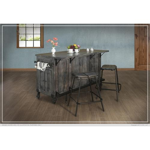 See Details - Kitchen Island w/3 Drawer, 5 Doors, 3 Shalves & casters