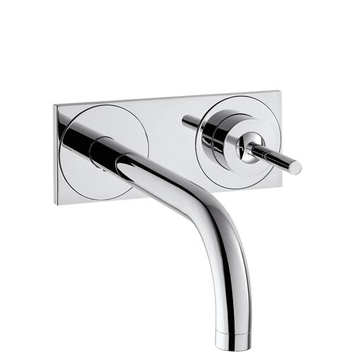 Brushed Nickel Single lever basin mixer for concealed installation wall-mounted with spout 225 mm and plate