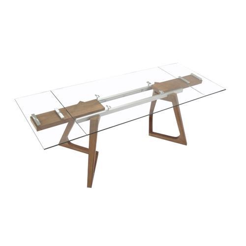 Gallery - Modrest Ruth Modern Extendable Glass & Walnut Dining Table