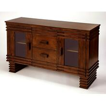 Storage space can instantly update your lifestyle and this sideboard is the perfect piece to accomplish that task. Crafted of Acacia wood and Birch veneers, it is finished in a rich brown with unique linear cutwork details. The 2 drawers are perfect for all your storage needs while enhancing the cutwork design features of the main cabinet. Its 2 glass panel doors open to reveal 2 shelves of interior storage space. You can set it in just about every room of your home to enjoy storage and its unique design.