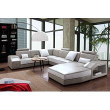 Product Image - Divani Casa Charlie Modern Light Grey & White Leather Sectional Sofa & Ottoman